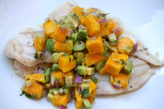 Paleo tilapia W:mango salsa